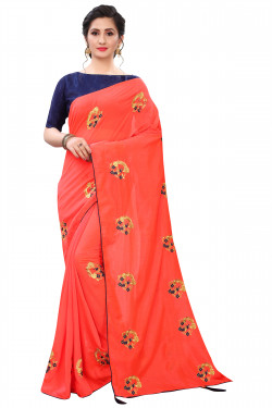 Buy Designer Coral Georgette Sarees For Womens Online in India at Ethnic Bazaar