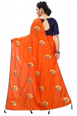 Buy Designer Orange Georgette Sarees For Womens Online in India at Ethnic Bazaar