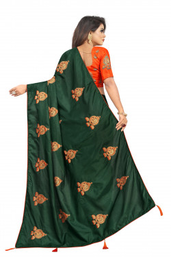 Buy Designer Bottel Green Georgette Sarees For Womens Online in India at Ethnic Bazaar