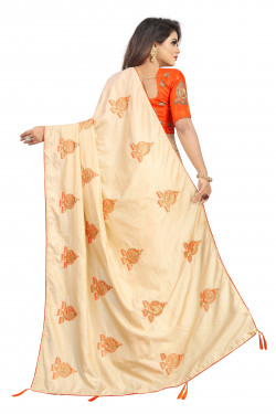 Buy Designer Cream Georgette Sarees For Womens Online in India at Ethnic Bazaar