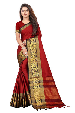 Buy Designer Red Jacquard Sarees For Womens Online in India at Ethnic Bazaar