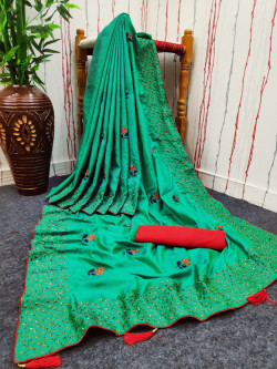 Buy Designer Green Georgette Sarees For Womens Online in India at Ethnic Bazaar