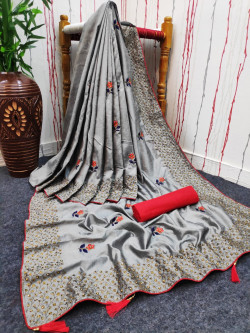 Buy Designer Gray Georgette Sarees For Womens Online in India at Ethnic Bazaar