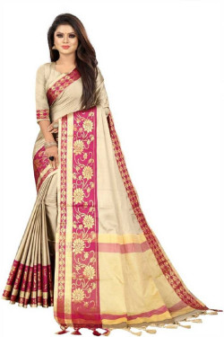 Buy Designer CreamSarees For Womens Online in India at Ethnic Bazaar