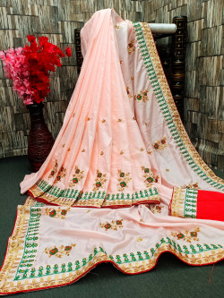 Buy Designer Peach Georgette Sarees For Womens Online in India at Ethnic Bazaar