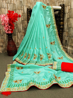 Buy Designer Sea Green Georgette Sarees For Womens Online in India at Ethnic Bazaar
