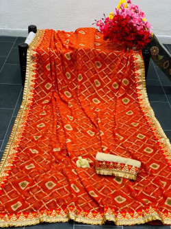 Buy Designer Orange Chiffon Sarees For Womens Online in India| Ethnicbazaar