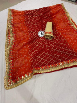 Buy Designer Red Chiffon Sarees For Womens Online in India| Ethnicbazaar