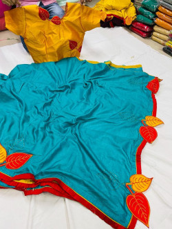 Buy Designer Teal Dola Silk Sarees For Womens Online in India| Ethnicbazaar