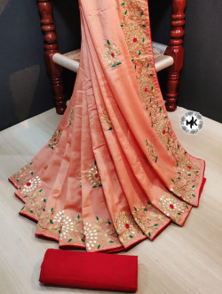 Buy Designer Coral dolla silk Sarees For Womens Online in India| Ethnicbazaar