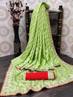 Buy Designer Light Green dolla silk Sarees For Womens Online in India| Ethnicbazaar