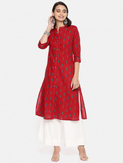 Alena Womens Red Fashion Kurta