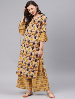 Alena Women Beiges Kurta with Palazzo