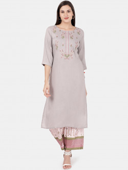 Alena Women Grey Fashion Kurta with Palazzo